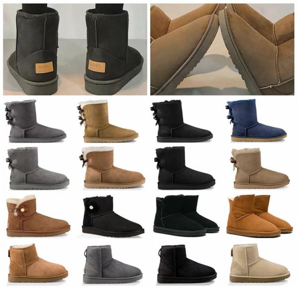 Austrália 2020 recém-chegados da neve do inverno botas mulheres com clássico caixa de couro alto Bailey Bow Sapatos menina sz5-10 Lã Pele preço barato Bota
