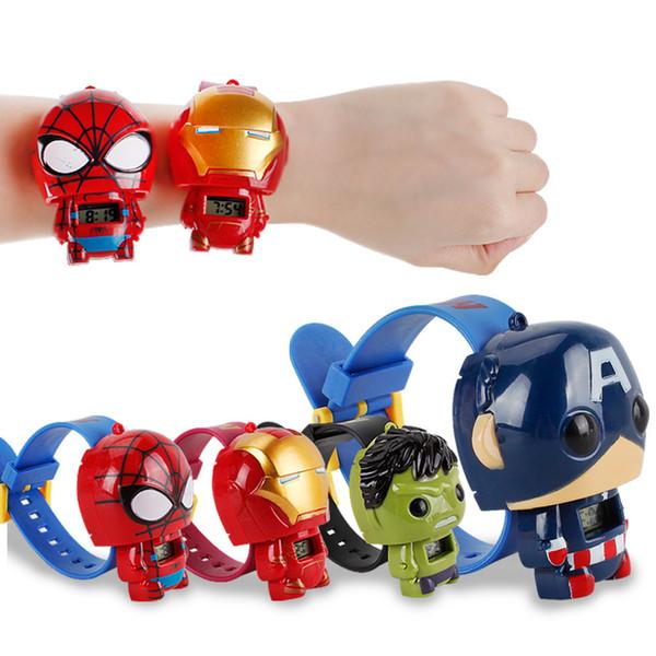 top popular Kids Avengers deformation watches 2019 New Children Super hero cartoon movie Captain America Iron Man Hulk Watch toys C1695 2020