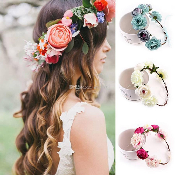 1PC Women Big Rose Flower Hairbands Bridal Wedding Jewelry Headbands Wreath Elastic Headdress Crown Hair Accessories 5 Colors