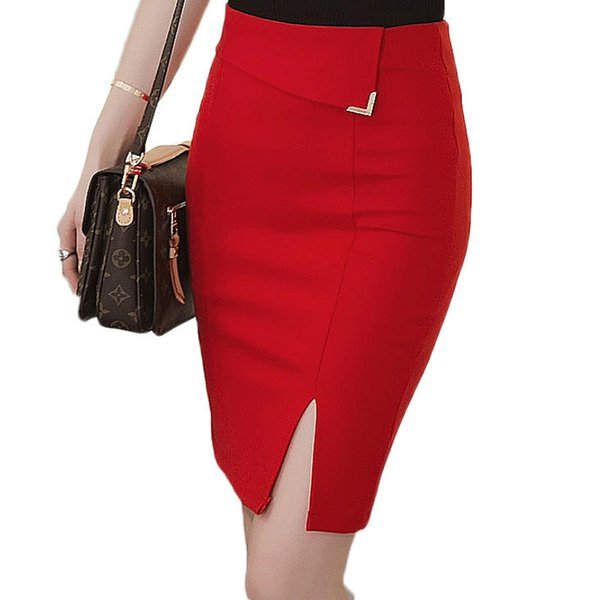 Office Skirt Female Sexy Elastic Women's Skirts With High Waist Pencil Skirt Casual