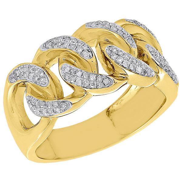 10K Yellow Gold Mens Diamond Miami Cuban Link Pave Set Design Pinky Ring 0.43 Ct