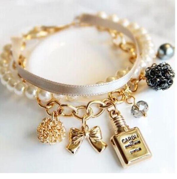 2018 heiße Neue Mode Dekorative Parfümflaschen Leder Simulierte Perle Bogen Charme Perlen Armreifen Armbänder Für Frauen Schmuck