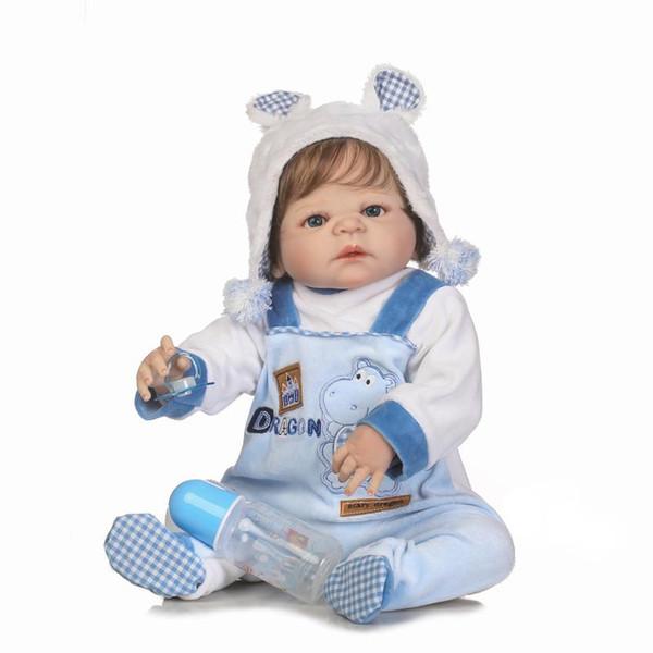 Yeniden doğmuş erkek bebek Bebek Tam Vücut Silikon Vinil Bebe Yeniden Doğmuş Bebekler Gerçekçi Prenses Bebek Oyuncak Bebek çocuk Günü Hediyeleri Için