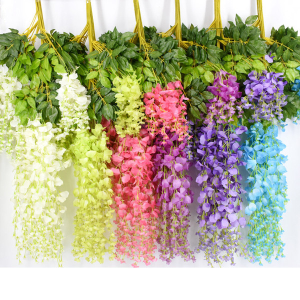 top popular 6styles Elegant Artificial Silk Flower Wisteria Flower Vine Rattan Garden Home Wedding Decor Supplies hanging props 75cm 110cm FFA2101 2021