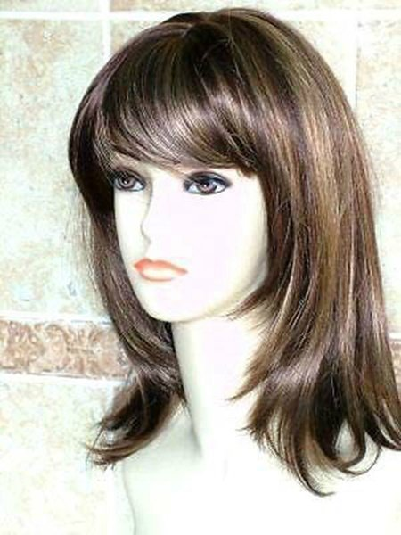 Glamorous Ladies Medium Brown Natural Straight Synthetic Daily Kanekalon Heat Resistant Cosplay Party Hair Full Wig Wigs