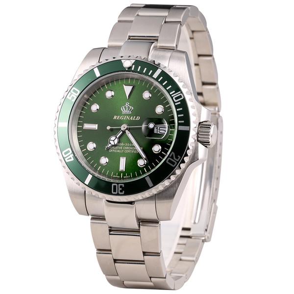 Luxo Reginald Assista Homens Rotatable Bezel GMT Sapphire vidro Data inoxidável Mulheres Mens aço Esporte relógios de quartzo Reloj Hombre