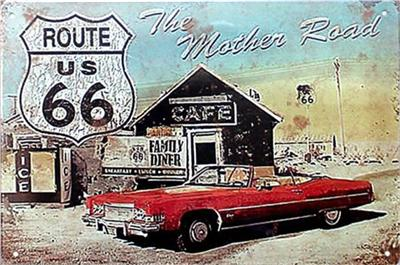 route us 66 road king dog 20*30cm blond beauty motorbicycle Tin Sign Coffee Shop Bar Restaurant Wall Art decoration Bar Metal Paintings