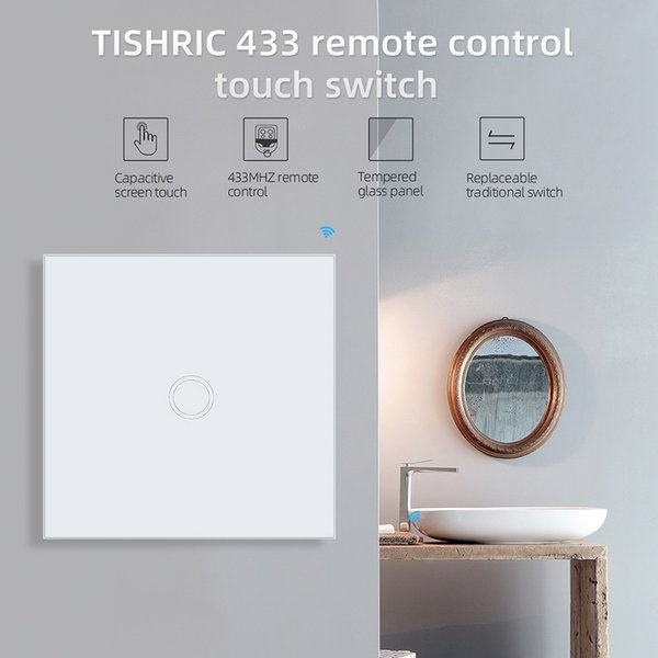 TISHRIC 86 Type 1/2/3 Gang RF 433 Remote Touch Switch Light Wall Led Glass Panel Remote Controller Receiver for Home Automation