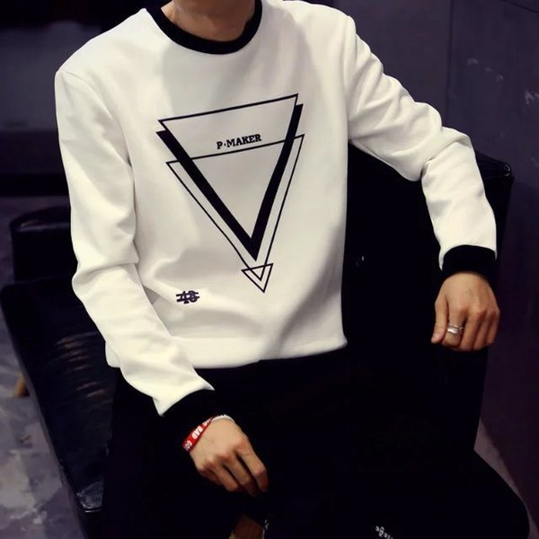 The Spring and Autumn Period and The Tops Men Long Sleeve T-shirt Tide Male Money Winter Fleece of Men's Shirt Knitting