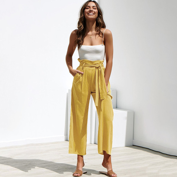 2019 frühling sommer damenmode elastische weites bein glocke boden hose lose flare hose tasche hose damen pantalones para mujer