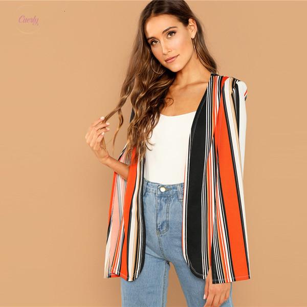 Weekend Casual Multicolor Open Front Striped Cape Cloak Outerwear Coat Streetwear Modern Lady Sleeve Coat New