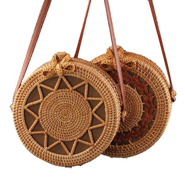 Wholesale retro art rattan bag Vietnamese handmade rattan grass round hand-held oblique bag