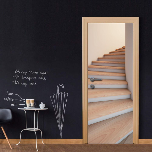 Wholesales DIY Door Sticker Spiral Stairs Door Decal for Bedroom Living Room wallpapers Decal home accessories