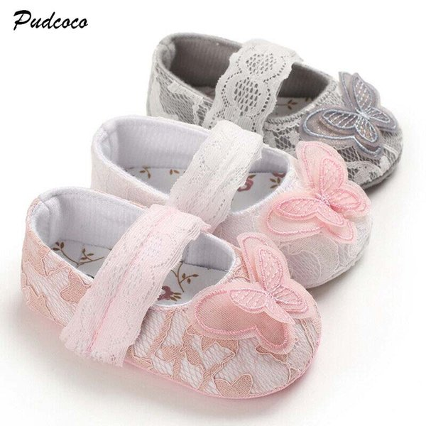 Toddler Baby Newborn Girl Soft Soled Little Kid Princess Flower Shoes 0-18M