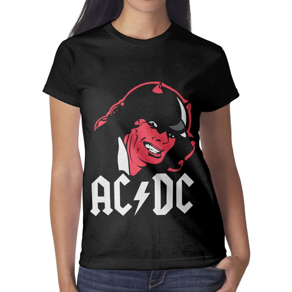 ACDC Angus Devil horn rock band Woman T-shirt Classic Summer Cool T Shirts Design Round Neck Shirts Womans Graphic T Shirts