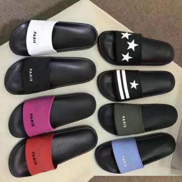 [Kutu ile] 2019 sıcak Moda erkekler kadınlar için slayt Sandalet terlik Sıcak Tasarımcı ayakkabı unisex plaj terlik EN IYI KALITE