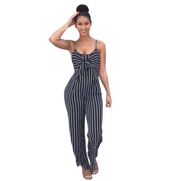 Women's fashion sexy striped jumpsuit trousers strapless sleeveless off-the-shoulder jumpsuit casual street style romper