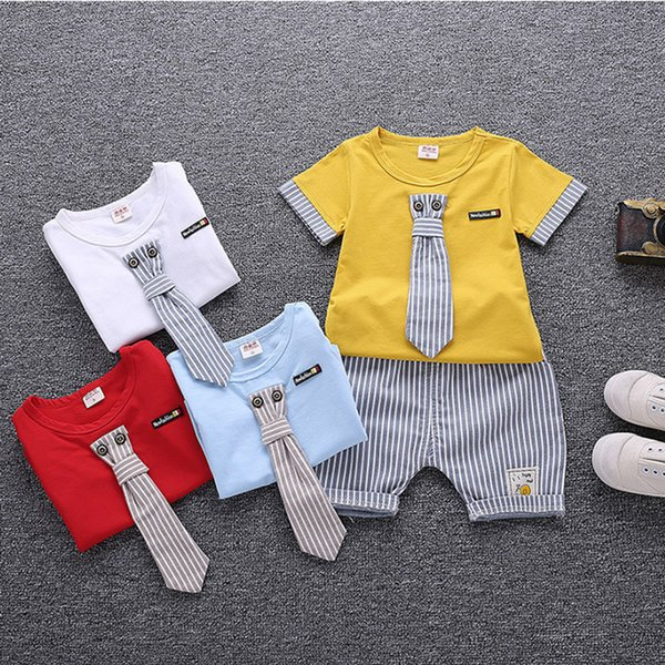 2019 Yeni Yaz erkek bebek Giysileri Setleri Çocuklar Giyim T-Shirt Kısa Set kaliteli Moda Rahat Karikatür 1-4Y Çocuk Toddler Suit