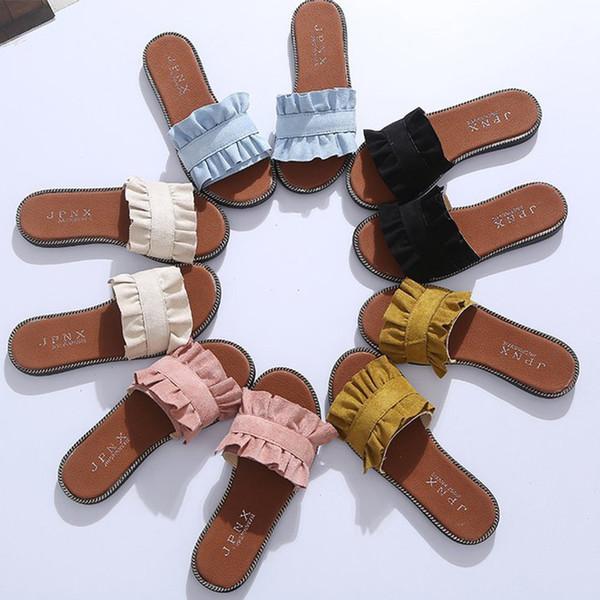 Pelle scamosciata di modo delle donne dei pistoni di estate dei pattini dei sandali di qualità del piede all'aperto abbigliamento casual Scarpe Slides