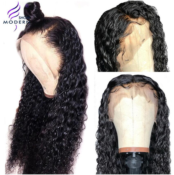 top popular Modern Show Remy Hair Water Wave 13*4 Lace Frontal Human Hair Wigs Pre Plucked Brazilian Human Lace Wig 150% Density 2019