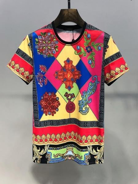Yeni yaz kısa kollu gömlekler erkekler için en kaliteli pamuk rahat narin Soyut baskı uluslararası