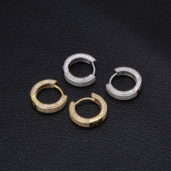 best selling Hip Hop Earrings For Men Women Rapper Fashion Jewelry Luxury High Grade Bling Zircon Paved 18K Gold Rhodium Plating Copper Hoop Huggie