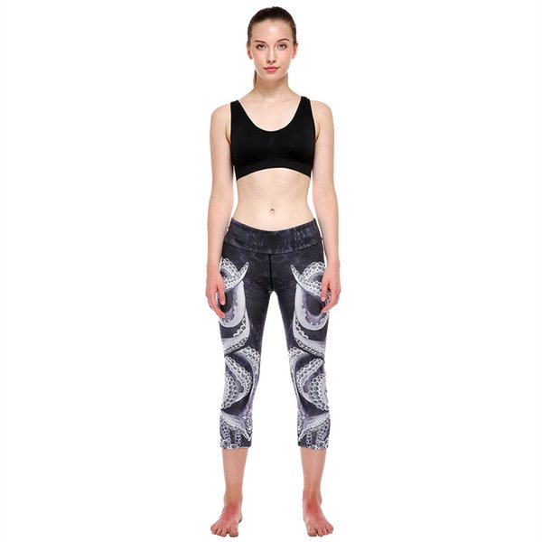 High Waist Women Sports Gym Workout Fitness Yoga Leggings Pants Printed Stretch Cropped Running tight Leggings #E0 #988366