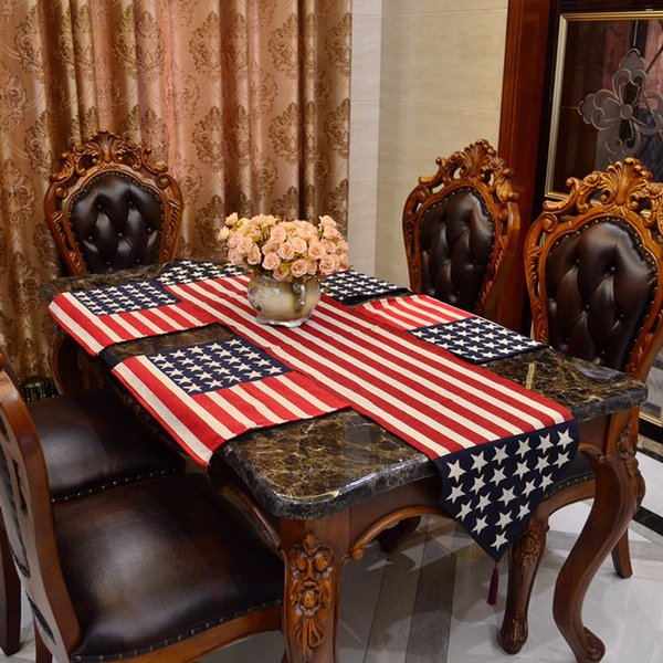 5pcs Christmas Table Runner And Placemats Set Cotton Polyester Jacquard Runner 13 *71 Inch Table Cloth Runner For Wed Party Coffee Dining