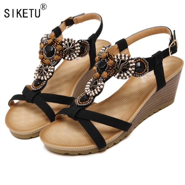 SIKETU Brand 2017 Bohemia Wedge Women Sandals Summer Vintage Rhinestone Woman Flip Flops Beach Women Shoes #10201