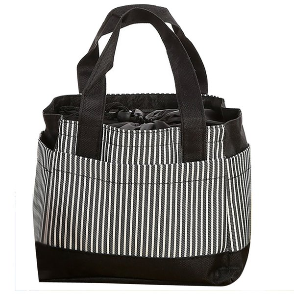 ISHOWTIENDA Large Lunch Bag Insulated Insulated Cold Canvas Stripe Picnic Carry Case Thermal Portable Lunch Bag Lancheira #10L
