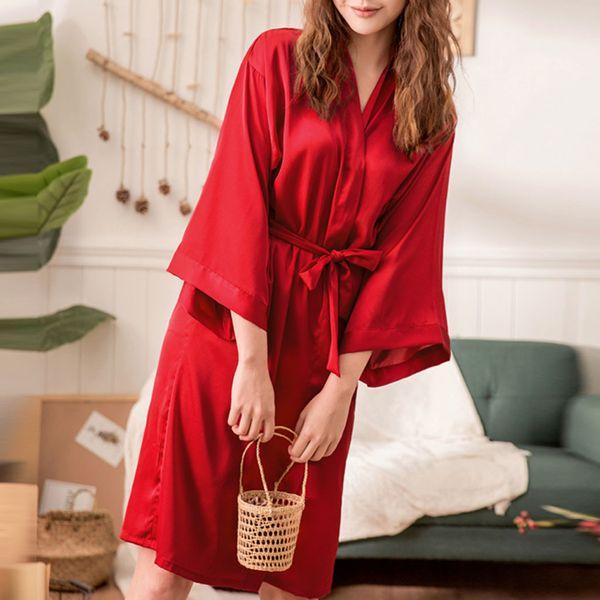 Nouvelle Robe De Kimono En Soie Peignoir Femmes Robes De Demoiselle D'honneur En Soie Sexy Bleu Marine Robes Robe De Satin Dames Robe De Robe