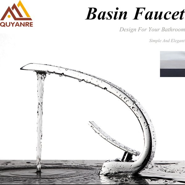 Deck Mount Wave Style Chrome Nickel Bathroom Basin Faucet Water Tap Basin Sink Tap Mixer Water taps Single Handle Hole