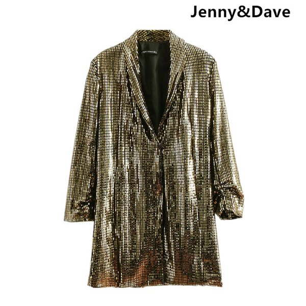 Jenny&Dave 2018 blazer feminino Casual noched england style sequined hidden breasted blazers women Suit jacket plus size 1201