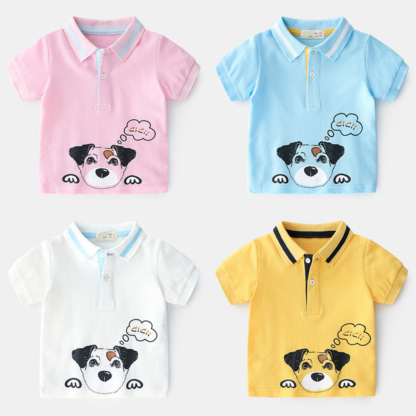 2019 New Summer Classic lapel Enfant Boys T-shirt Printed cartoon dog Children Cotton polo Shirt Tops Kids Baby Short Sleeve T-Shirt
