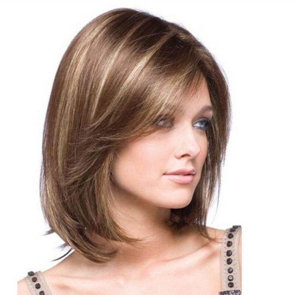 Details über Frauen kurze glatte synthetische Haarperücke Elegante natürliche hitzebeständige Perücke