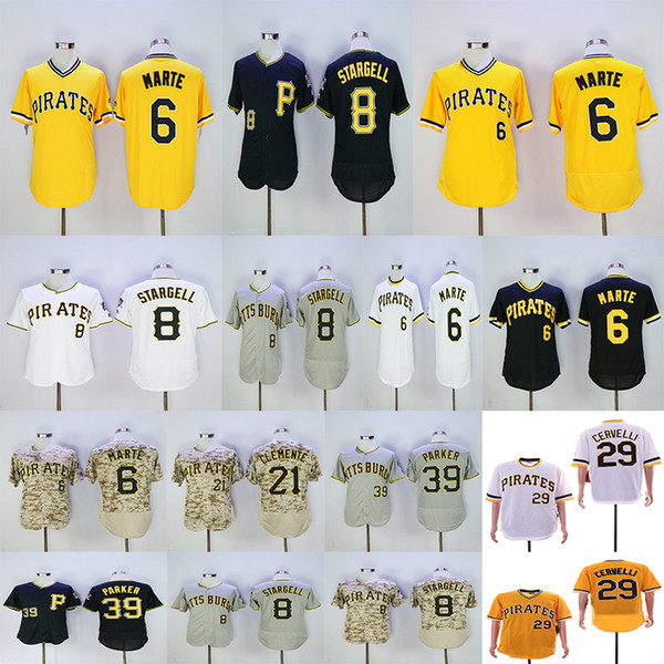 newest df75d 7ec7f 2019 Men'S Pittsburgh Pirates Roberto Clemente Willie Stargell Francisco  Cervelli Starling Marte Dave Parker Grey Yellow White Jersey From ...