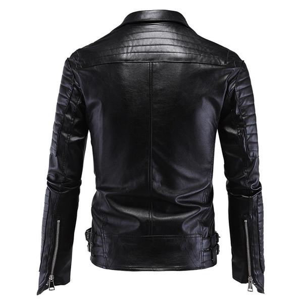 Großhandel Wholesale Fashion Herren Winter Lederjacken Faux Jacke Koreanische Stilvolle Slim Fit Mäntel Männer Schwarze Lederjacke Dünner Mantel Größe