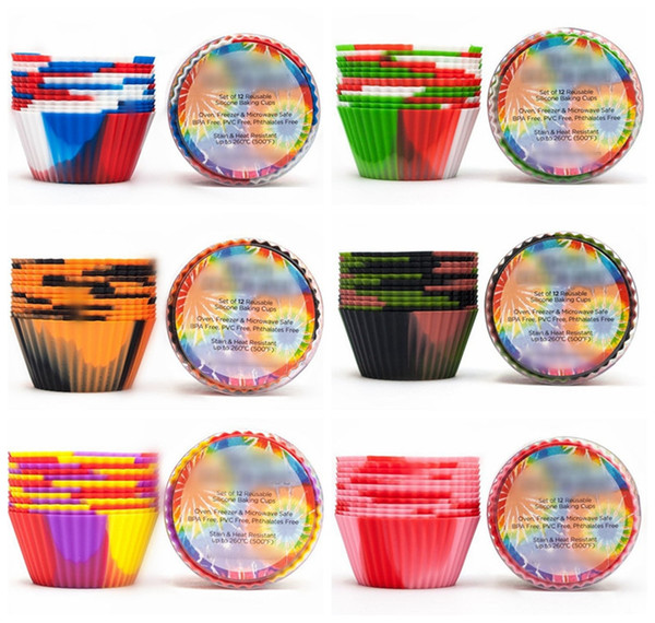 12pcs / set Camouflage Silicone Cuisson Muffin Cupcake Maker Réutilisable Coupe Du Gâteau Coupe Résistant À La Chaleur Muffin Casseroles Moules De Bonbons