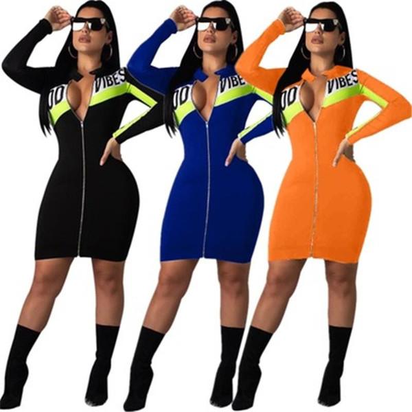 Farbblock Patchwork Sexy Minikleid Frauen Neongrün Brief Drucken Langarm Figurbetontes Kleid Streetwear Reißverschluss Up Party Kleid NB-1482