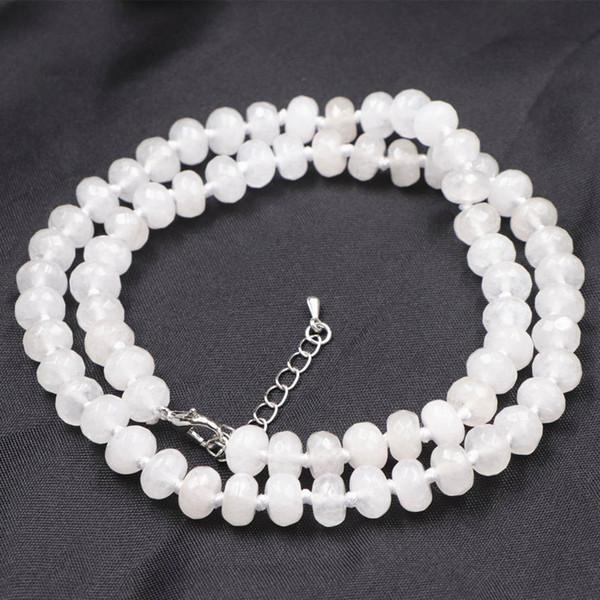 Naturstein Halskette Kette für Frauen facettierte Abacus 5x8mm weiße Jade Halsketten Choker Schmuck 18