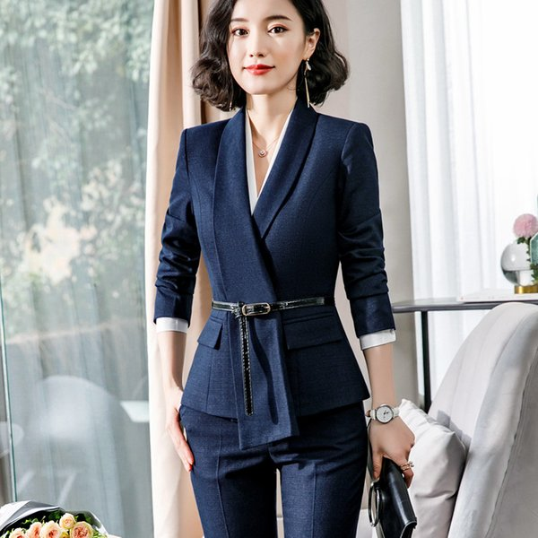 High quality fashion pant suits women 2019 spring new long sleeve slim formal blazer and pants office ladies plus size work wear