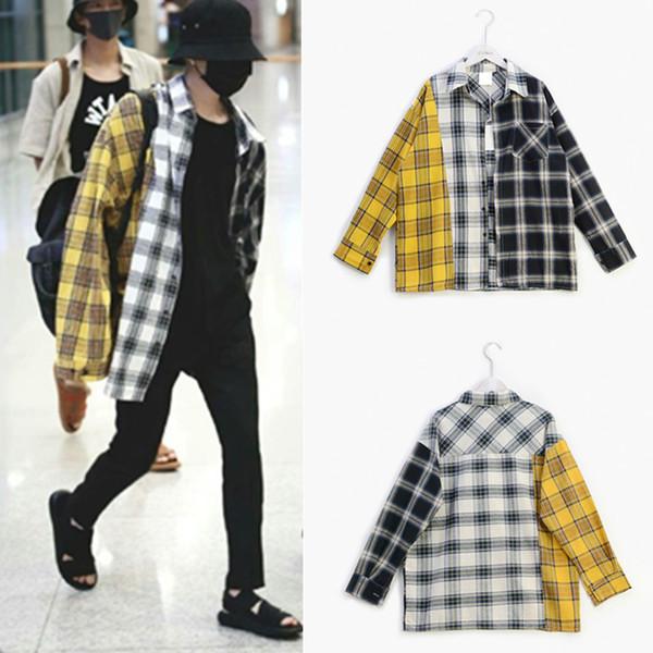 Serin Kpop Bts SUGA Tişörtü Hoodies Kadın Erkek Moleton Eşofman Pamuk Patchwork Ekose Harajuku Üst Kat Hoodie Streetwear