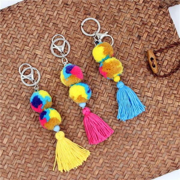 Pompom Ball Tassel Keychain Bohemian Wind handmade Fashion Bag Colored Ball Tassel Key Holder Small Gifts for Friends
