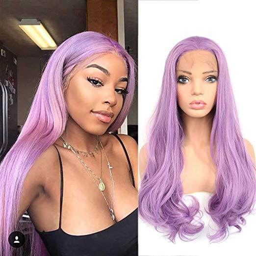 Cosplay Party Sexy Purple Lace Front Wig Can Heat Synthetic Realistic Long Natural Wavy Hair Replacement Full Wigs for Women Girls 22inches