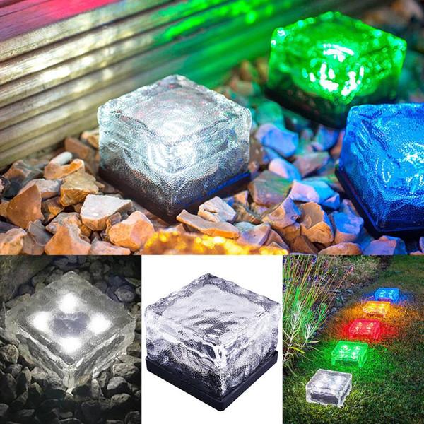 Énergie solaire LED Lumière extérieure Étanche Sol Cristal Verre Brique De Glace Pelouse Cour Pont Route Chemin Jardin Décoration Lampe de sécurité