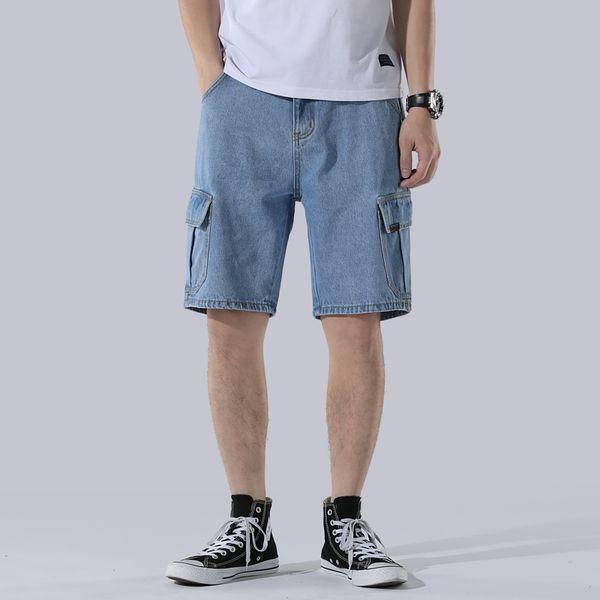 Denim Shorts Men 2019 Men's Summer Thin Section Hole Slim Five Pants Men's Casual Zipper Fly Knee Length Straight Short Jeans
