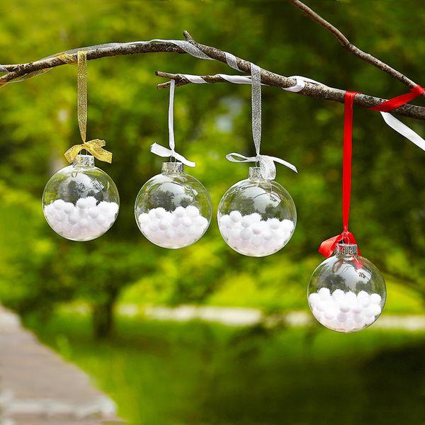 Mixed Packing Transparent Glass Globe Christmas Decoration Hanging Glass Ball Wedding Diameter 15cm 12cm 10cm 8cm 6cm Christmas Ornament Decorations