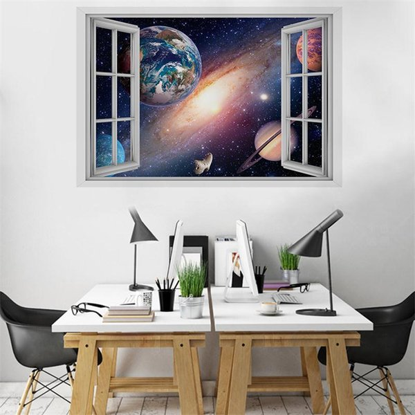 New 3d Starry Sky Stereo False Window Wall Sticker Living Room Bedroom Childrens Room Green Decoration Sticker Sticker Home Decor Sticker Murals From