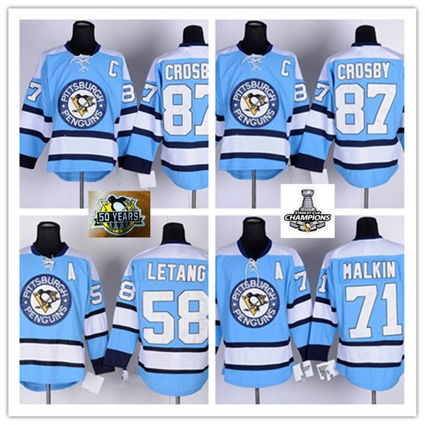 wholesale dealer e9ba0 8e7f9 2019 2018 Style Mens Pittsburgh Penguins Sidney Crosby Jersey Light Blue  #71 Evgeni Malkin #58 Kris Letang Pittsburgh Penguins Jersey S 3XL From ...