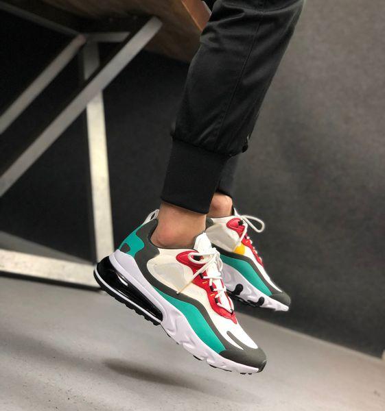 Acheter Nike Air Max 270 Réagir Les Hommes En Noir Et Blanc Gris Chaussures Haut Qualité Triple Mode Homme Schuhe Sports Tennis Hommes Formateurs